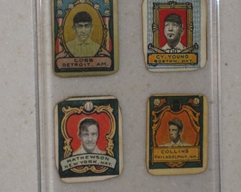 4 Card Lot of 1911 T332 Helmar Stamps Ty Cobb/Eddie Collins/Cy Young/ Christy Mathewson- in Screwdown Case