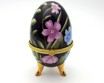 Intricate faux Faberge egg vintage imitation black blue and pink flowers jewellery storage ornament jewelry chest floral ceramic