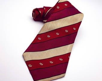 R. W. Forsyth Diagonal Stripes Necktie Burgundy Red Cream Vintage Crest Insignia Private School Look Made in England men's tie neckwear silk
