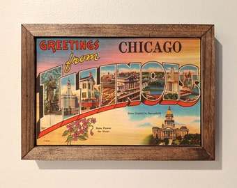 Chicago Postcard Wooden Sign