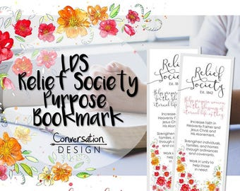 LDS, Relief Society Purpose, Bookmarks, Digital Download