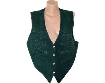 Vintage Maxime Exclusive Mode women vest real leather suede green size XL