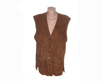 Vintage Camp Jeans Styled by Giovanni Molino women vest suede genuine leather brown size 42