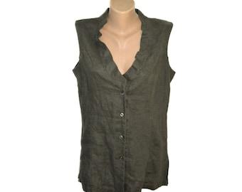 Vintage AVA Women tops blouses vest 100% linen green