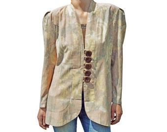 Vintage Auvergne women shirts blazer floral flowers pastel five big buttons