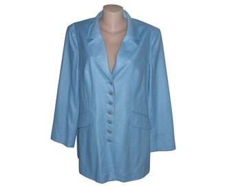 Vintage Elegance Paris women blazer 50% silk 50 wool blue sky