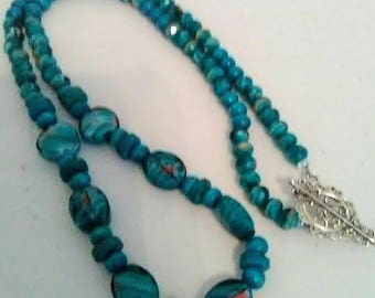 Long Aqua blue beaded necklace with toggle clasp