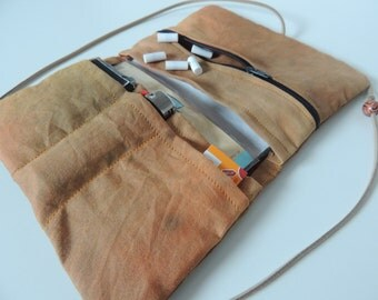Tobacco bag orange brown - with zipper - Upcycling