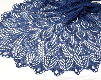 Knit shawl, knit scarf, crochet shawl, knitted scarf,  shawl of wool, knitted shawl, delicate shawl, blue shawl, lace shawl, hand knit shawl
