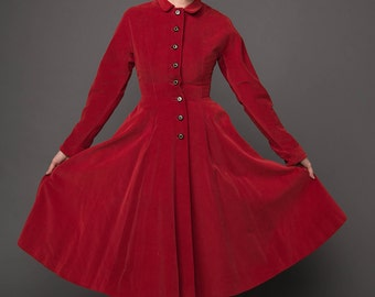 Stunning 50's Princess Coat Red Velvet Madeleine Fauth Fit Flare Satin Lining Nipped Waist Full Skirt XS Small Single Breasted