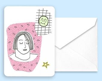 Postcard — Hélène and the smiley