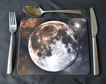 PLACEMAT SET. Moon and Stars Small Placemats  - Set of Six. Stylish Dining Decor. Option to Include a Soft Green Placemat Backing 230X190