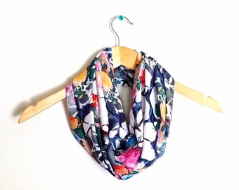 Patterned Silky Infinity Scarves - Patterned Scarf - Silky Scarf - Silk Scarf - Bridal Shower Gift - Wedding Gift - Bridesmaids Gift