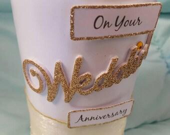 Wedding Anniversary Bottle - 'Lovable White'