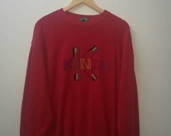 Large Size KENZO Golf Sweatshirt Crew Neck Jumper Red Colour