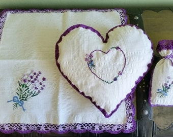 Romantic rustic style textile Lavender set Heart shape pillow + table napkin Handmade, lace & embroidery