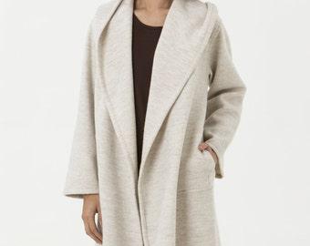 Cream Boiled Wool Jacket - Carmen Jacket