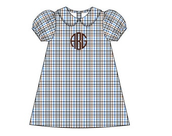Blue Plaid A-Line Dress
