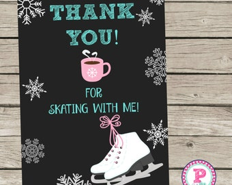 Ice Skating Party Thank You Cards Notes Tags Aqua Pink Lace up Your Skates Snowflakes Winter 5x7