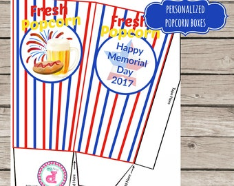 Memorial Day Party BBQ Cookout Popcorn Boxes Treat Bag Ideas Snacks Fresh Popcorn Beer Hot Dogs Fireworks Backyard Cookout Wording Change OK