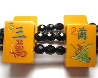 Vintage Mahjong Bracelet with Black Beads