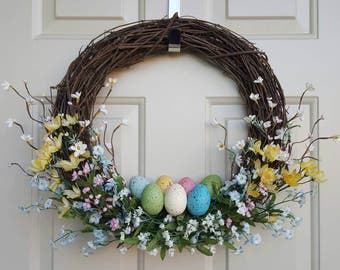 Easter Wreath | Spring Wreath | Easter Egg Wreath | Floral Easter Wreath | Pastel Floral Wreath | Grapevine Easter Wreath | Floral Spring