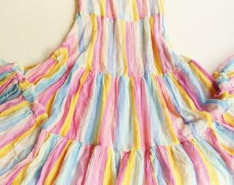 CoaCheLLa DresS XS S vintage 158 LuReX 80 70s HiPpie dress 34 VoLant MiDi SuMmEr