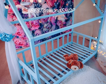 TWIN SIZE bed,toddler bed,bed home,nursery wood house,frame bed,original bed,home bed,montessori bed,Kids' Furniture,Handmade unique bed