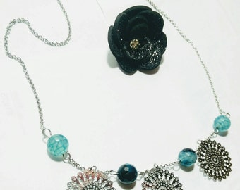 Necklace steel and gemstone turquoise Green
