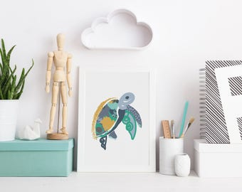 Under the Sea Wall Art / Turtle Print / Kids Wall Art / Nursery Print