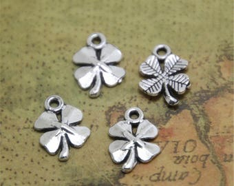 30pcs Silver TONE Four Leafs Clovers Flowers Charms Pendants 17x11mm ASD0654