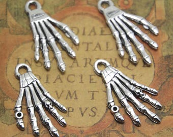 10pcs Skeleton Hand Charms silver tone Skeleton Hand Charms pendants 35x17mm ASD1475