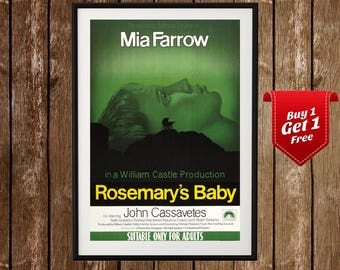 Rosemary's Baby Movie Poster - John Cassavetes, Mia Farrow, Classic Film, Horror Movie, Iconic Cinema, Vintage Film, Retro, Classic Cinema