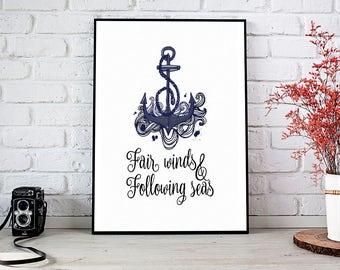 Fair Winds Print, Printable Art, Printable Decor, Instant Download Digital Print, Motivational Art, Decor, Wall Art Prints