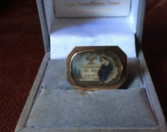 Georgian Sepia Miniature Mourning Brooch