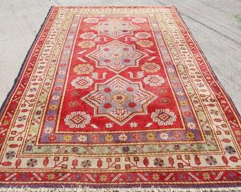 FREE SHIPPING!! Vintage Uzbekistan Kazak Rug, Shirvan Bright Colors Rug,Red  Nomadic Rug, Turkish Rug  255 x 160 cm / 8.3 x 5.2 ft