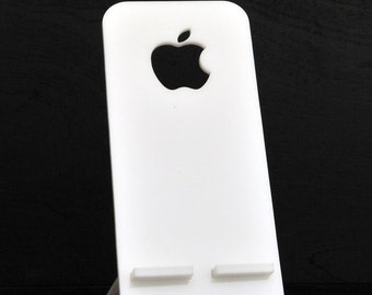 White MinimaI Desktop/Nighttable Apple iPhone Stand Holder