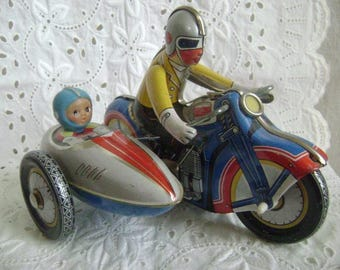 Vintage Motorcycle, Tin Motorcycle with Sidecar, Wind Up, made in China, 1970's Working Condition