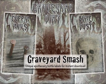 Apothecary potion bottle labels - Graveyard Smash