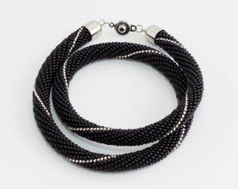 Elegant Necklace. Black Beaded Necklace. Classic Black Necklace. Black and Grey Necklace. Classic Jewelry.