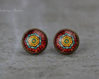 "Earring Studs, 12 mm ""Indian Summer"", mandala, oriental tile pattern,  everyday jewelry, bohemian style"