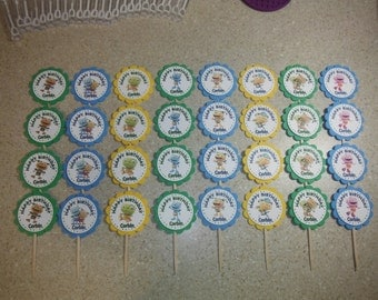 32 HENRY HUGGLEMONSTER Cupcake Toppers PERSONALIZED - Picks Party Favors