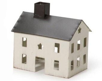Fairy Garden House, Fairy House, White Fairy House, White Tin Fairy House, Miniature House, Rustic house, Mini tin house, Fairy Garden