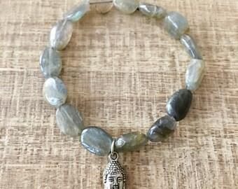 Energy Labradorite Buddha bracelet, Labradorite Jewelry, Yoga Bracelet, Buddha Bracelet