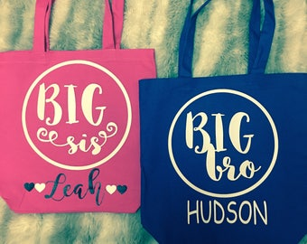 Personalized Big Brother/Big Sister Tote Bags Little Brother/little Sister Tote Bags