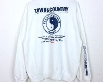 Vintage Town & Country Sweatshirt TnC Surf Sweater Big Logo Spellout Pullover L Size Rap Tees Hip Hop Swag