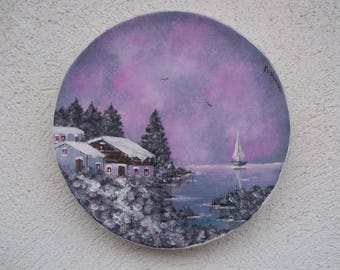 Spring snow (hand painted dish)
