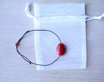 Bracelet red stone, coloured stone, black string, Stone bracelet Bracelet Bracelet