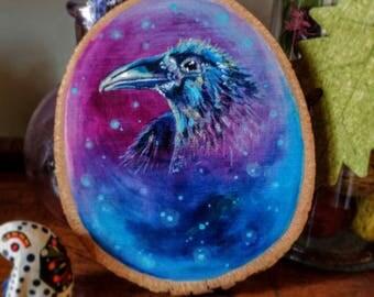 Corvus wood painting