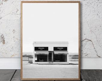 Prada Marfa Print - Prada Texas Print, Digital Download, Texas Prada Wall Art, Prada Store Poster, Fashion Poster, Modern Scandinavian Decor